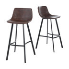 GDF Studio Rex Faux Snake Leather Brown Bar Stools, Set of 2