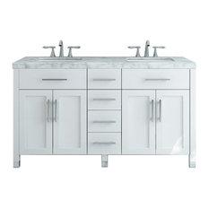 "59"" Boardwalk Double Bath Vanity With 5cm Carrara Marble"