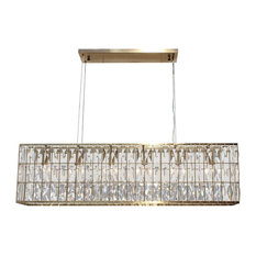 The Monroe Clear Crystal Rectangular Chandelier, Brass Finish