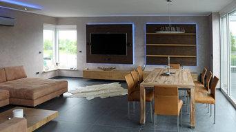 Wohnraumgestaltung mit maßgefertigten Möbeln und Einbauten