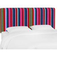 California King Upholstered Headboard in Serape Stripe Bright Multi