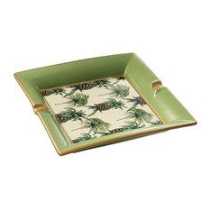 "Green Porcelain Ashtray   Eichholtz Pineapple, green, 10""Wx10""Dx2""H"