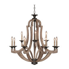 Craftmade Winton 12-Light Chandelier, Weathered Pine/Bronze