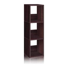 3-Shelf Narrow Cubby Bookase Storage Shelf Tool Free Eco zBoard Espresso