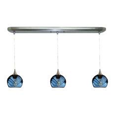 Swell 3-Light Linear Pendant No. 763, Blue Glass Shades, 4 Watt