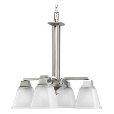Progress Lighting 4-Light Chandelier With Etched Glass, Brushed Nickel