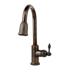 Premier Copper Products - Single Handle Kitchen Faucet with Pullout Spray, Oil Rubbed Bronze - Kitchen Faucets