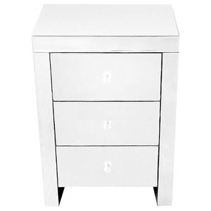 Mirrored Bedside Table, MDF With 3 Storage Drawers and Metal Runners, Modern