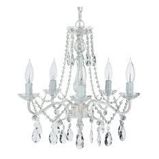 Elizabeth 5-Light Wrought Iron Crystal Chandelier, Whitewashed