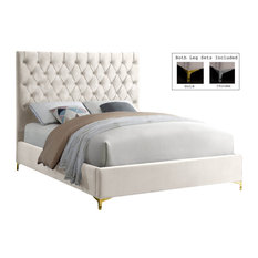Cruz Velvet Bed, Cream, Full