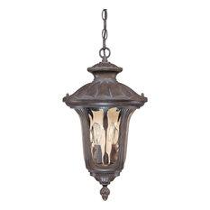 Beaumont 2 Light - Hanging Lantern Amber Water Glass