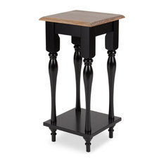 Kate and Laurel Sophia Rustic Wood Top Plant Stand End Table, Black