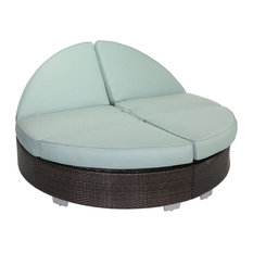 Signature Round Double Chaise With Sunbrella Cushions, Espresso Brown With Spa