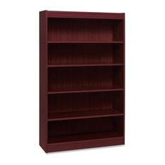 Lorell Panel End Hardwood Veneer Bookcase 5-Shelf Mahogany