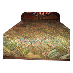 Mogul Interior - India Bedding Decorative Handmade Embroidered Kutch Bedspread Bed Cover - Quilts And Quilt Sets