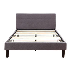 divano roma furniture gray linen fabric upholstered platform bed with wooden slats queen