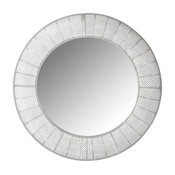 Round Mirror With Metal Grid Frame
