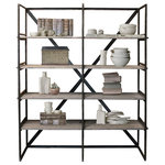 JW Atlas Wood Co. - Wood and Metal Book Case, Home Decor and Bookshelf - Reclaimed Wood and Welded Metal, Steel Bookshelf, Bookcase, Dark Stained Metal Frame and Wood Storage and Display Shelf for Books, Home Decor, Media, Etc.