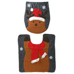 "National Tree Company - Reindeer Toilet Cover and Bathroom Rug Set - 16.5""x14.17"" Reindeer Toilet Cover & 21.25""x21.25"" Bathroom Rug-Set"