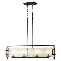 Adalynn 4-Light LED Island Pendant with Water Glass Panels - Black Bronze
