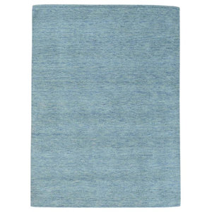 """Sky Blue Thick and Plush Loomed Gabbeh Pure Wool Oriental Rug, 5'0""""x6'10"""""""