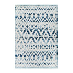 Vintage Diamond and Chevron Moroccan Trellis 5x8 Indoor and Outdoor Area Rug