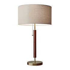 Adesso - Hamilton Table Lamp, Antique Brass With Walnut Eucalyptus Wood - Table Lamps