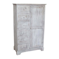 Solid Wood Country Pantry Cupboard, White