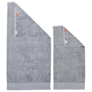 Crown Black Line Stone Grey Towel Set With Grey Rhinestones, Silver, Set of 2