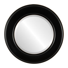 """Marquis Framed Round Mirror in Matte Black, 31""""x31"""""""