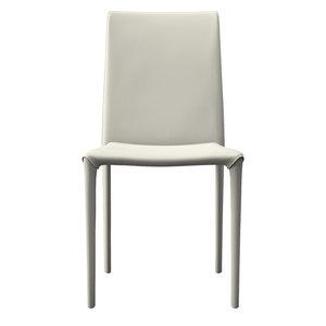 Varick Dining Chair, Eggshell Reclaimed Leather, Set of 2
