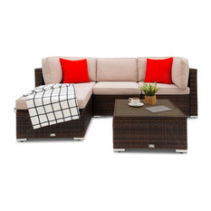 Ancaster 5-Piece Wicker Patio Conversation Sectional Seating Set