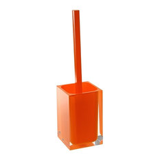 Modern Square Toilet Brush Holder, Orange
