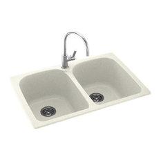 Swan 33x22x10 Solid Surface Kitchen Sink, 1-Hole, Bisque