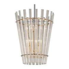 Sauterne 6 Light Pendant in Gold Leaf With Polished Stainless