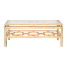 Worlds Away Rectangle Coffee Table Gold Leaf With Glass Coffee Tables