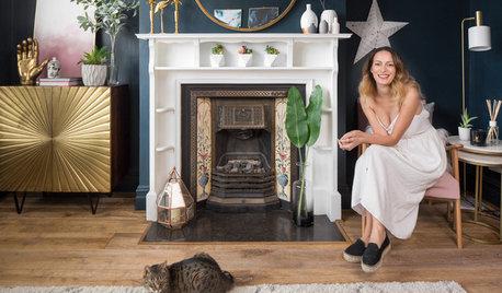 My Room: Dark Blue Walls and a Pink Sofa Transform a Living Room