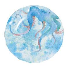 Galleyware Octopus Melamine Non-Skid Dinner Plates, Set of 6