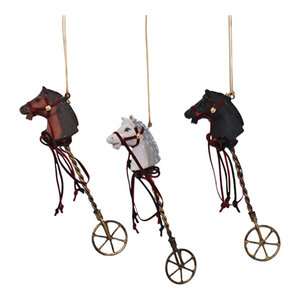 Brown White Black Hobby Horses Christmas Holiday Ornaments Set of 3