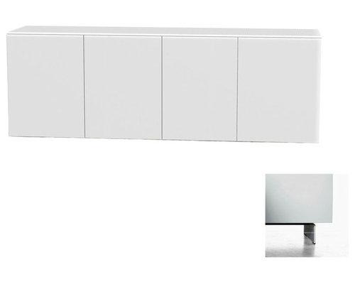 Arctic 40 Sideboard 4D, Vit/Vita Metallben - Opbevaringsskabe
