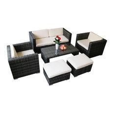 Modern 6-Piece Outdoor Rattan Sofa Sectional Set