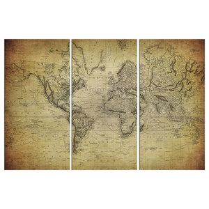 Vintage 3-Piece 1814 World Map, 150x100 cm