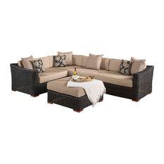 Resort 5-Piece Seating and Ottoman Set, Espresso