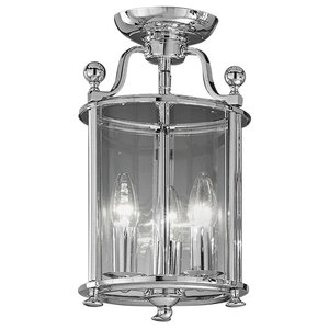 Pasillo Ironwork 3-Light Flush Lantern, Chrome