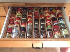 My Husband Built This Spice Drawer When He Couldnu0027t Fins Something In The Spice  Cabinet. He Used Thin Strips Of Oak To Match The Drawer Front, ...