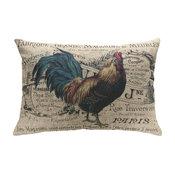"French Chicken Linen Pillow, 18""x12"""