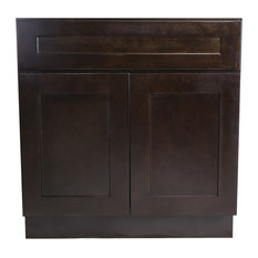 "Brookings Unassembled Shaker Sink Base Kitchen Cabinet 48"", Espresso"