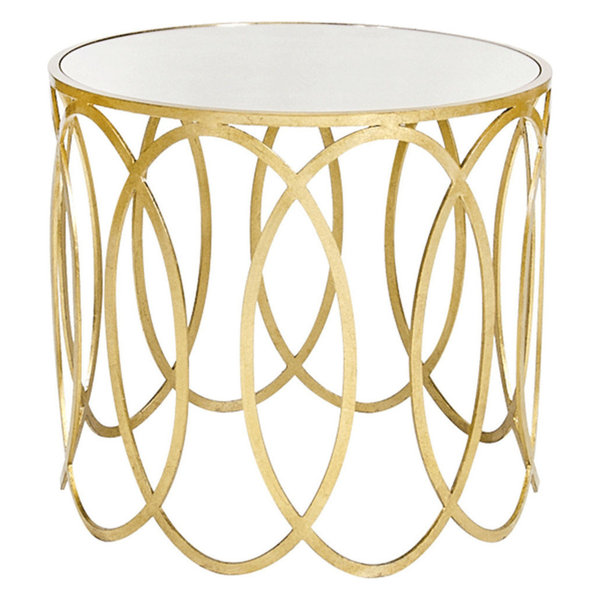 Hand applied gold leafed oval design side table with mirror topEach piece is designed with aesthetics in mind, is made with the highest quality products, and is scrutinized for perfection.