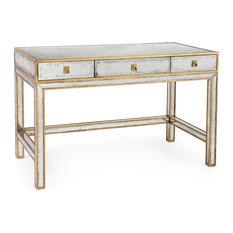 Sorvino Hollywood Regency Silver Leaf Mirror Gold 3 Drawer Writing Desk
