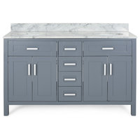 """Grace Contemporary 60"""" Wood Double Sink Bathroom Vanity With Marble Counter Top"""